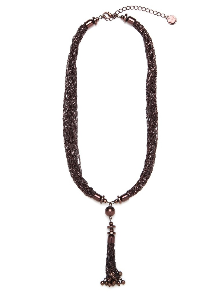 <3 This stunning statement necklace works a sophisticated ladylike vibe — it's cast in a posh lariat silhouette and features oh-so-delicate links in dark bistro brown.