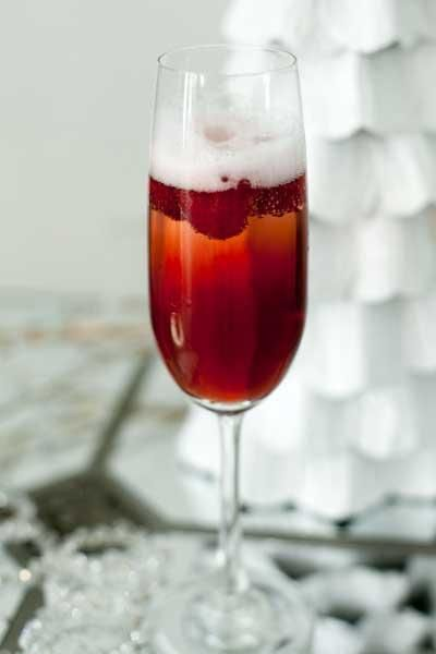 Black Cherry Blush Champagne Cocktail with Raspberry Liqueur