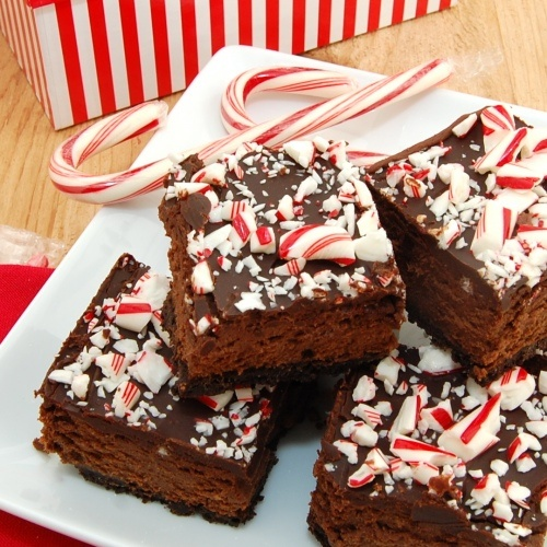 Chocolate Cheesecake Candy Cane Bars from SweetPeasKitchen.com