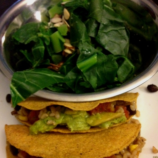 Day 2 dinner. Brown rice and black bean tacos with salsa and guacamole ...
