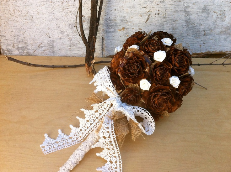 Rustic wedding bouquet winter fall country pine cone weddings. $120.00, via Etsy.