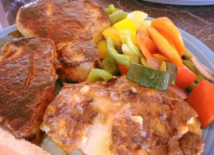 glazed pork chops marinated in honey, red wine, tamari sauce and cider ...