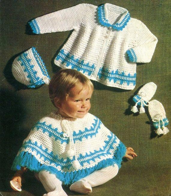 PDF Crochet Pattern Poncho Coat Bonnet and by KenyonDownloadBooks, $2 ...