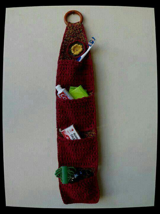 Organizador De Baño En Crochet:Organizador de baño