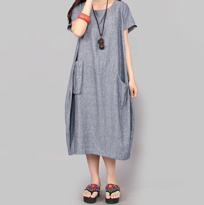 linen maxi dress women fashion long dress