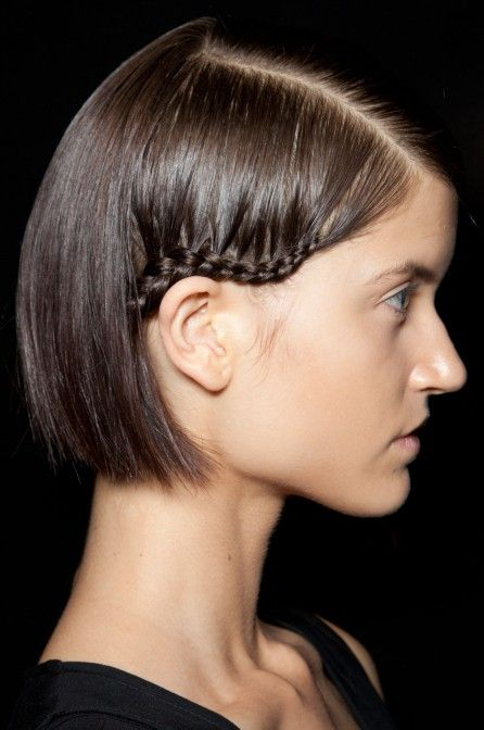 Short Hairstyles: Side View of Cute Short Hairstyle with Braid