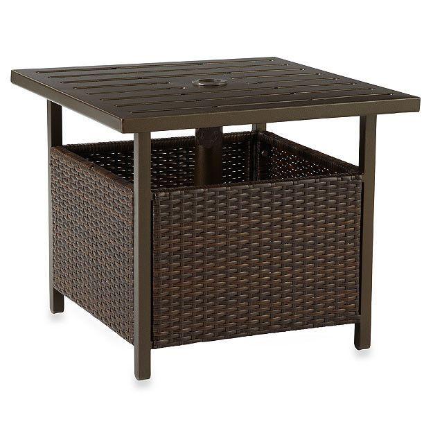 Patio Wicker Furniture Umbrella Side Table Outdoor Deck