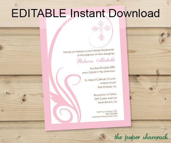 Editable Instant Download Swirl First Communion