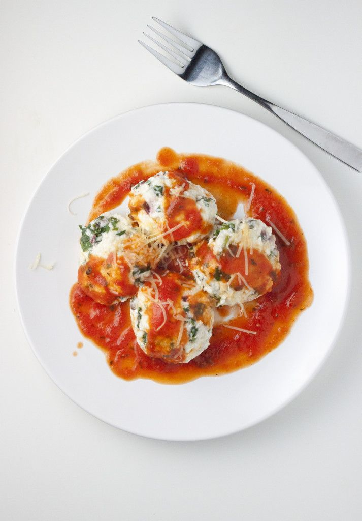 Beet Green and Ricotta Gnudi with Tomato Sauce (serves 2 as a supper ...