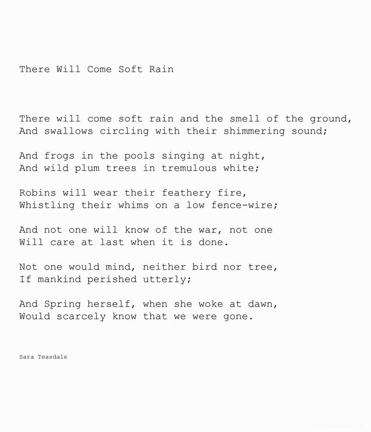 """there will come soft rains sara teasdale analysis Analysis of grade-level-appropriate literary text: """"there will come soft rains"""" (poem) by sara teasdale """"there will come soft rains"""" (short story) by ray."""