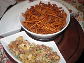 ... mix recipes: spicy sweet pretzels and an Asian-style snack brittle