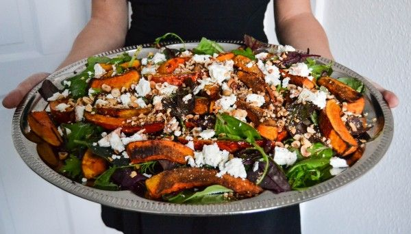 Roasted pumpkin salad with feta cheese and roasted nuts / A Tasty Love ...