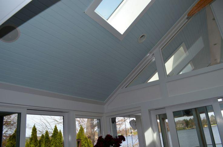 Vaulted ceiling, fan, skylight | Lake House Living Room | Pinterest