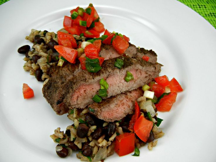 Grilled Flank Steak with Tomato Lime Salsa. Serve with rice & black ...