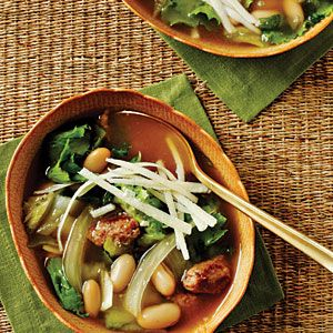 Escarole, Bean, and Sausage Soup with Parmesan Cheese | MyRecipes.com