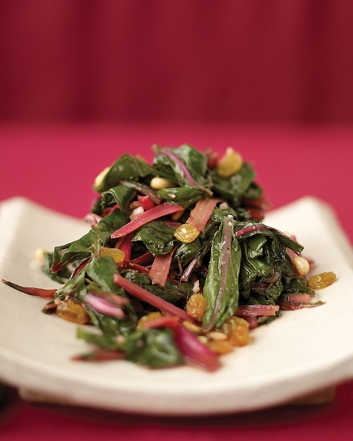 Side dish-swiss chard saute with golden raisins, garlic, pine nuts and ...