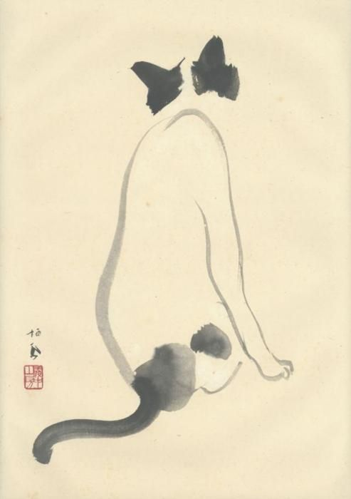 Takeuchi Seiho, Cat, painting in sumi on paper, ca 1920