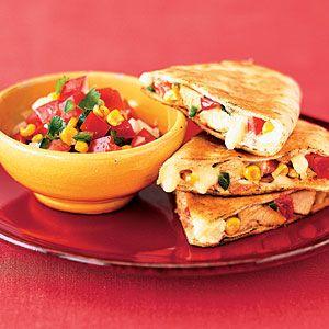 Chicken Quesadillas With Roasted Corn Salsa Recipe | MyRecipes.com ...
