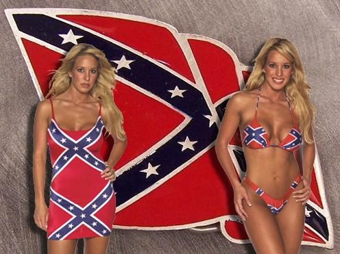 Seldom.. possible naked girl with rebel flag did not