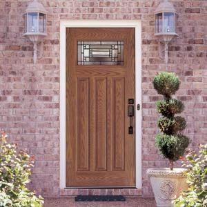 Feather river doors door preston patina craftsman stained medium oak - Home depot feather river door ...