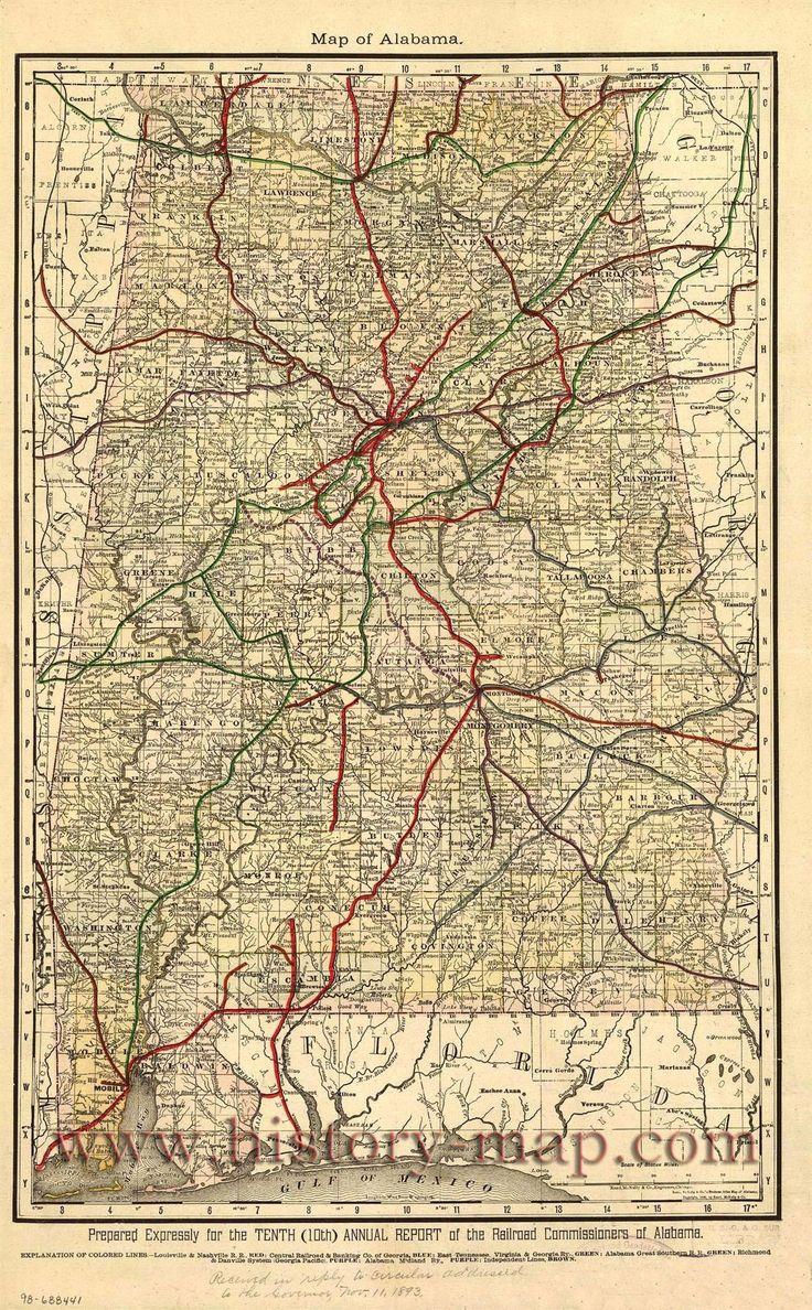 Old Alabama Railroad Map  Maps  Pinterest