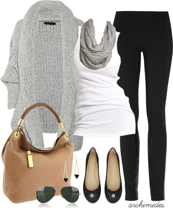 Heavy grey color cardigan,scarf,white blouse,black tights,brown leather handbag and black flatters