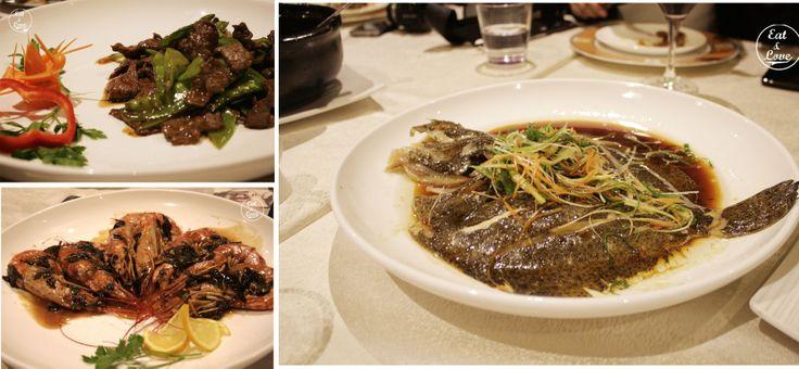 Tirabeques salteados con ternera, rodaballo al vapor, gambones salteados con te. - Restaurante chino El Bund Madrid