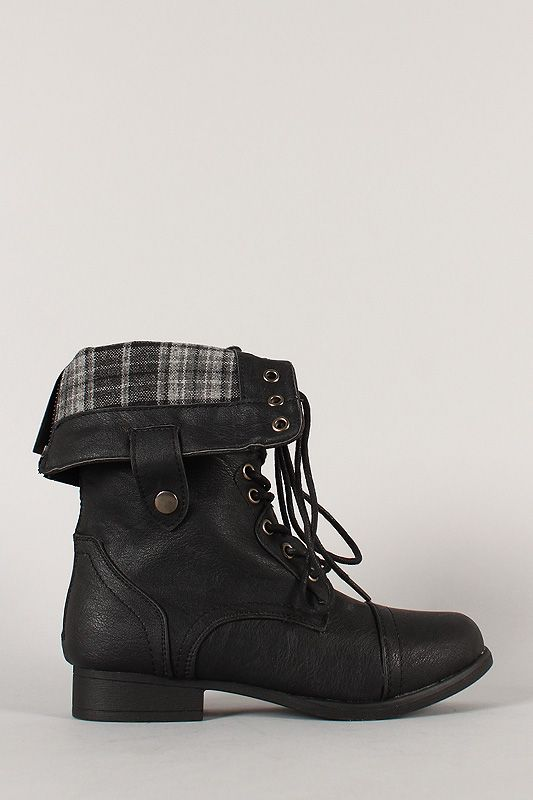 This tough and stylish military inspired boot is a definite must-have for the season! Featuring round toe, stitching accents, plaid print fold over cuff design with snap button, lace up construction, low flat heel, and rear zipper closure for easy on/off. Finished with cushioned insole and smooth interior lining for all day comfort. Unfold the cuff for two different looks!