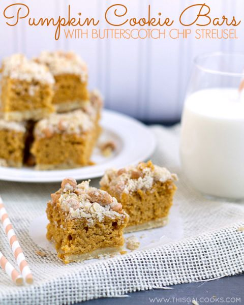 Pumpkin Cookie Bars with Butterscotch Chip Streusel - This Gal Cooks