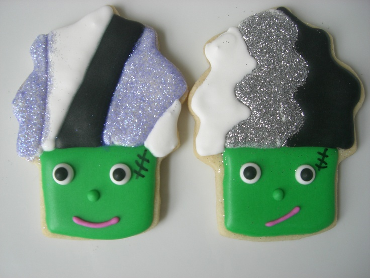 Frankenstein's Monster and Bride of Frankenstein cookies  (from cupcake cookie cutter)