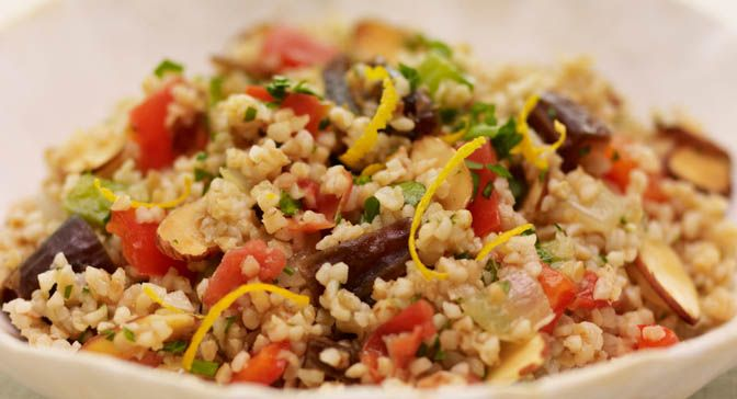 ... orange, dates, cumin and almonds give this bulgur wheat salad a truly