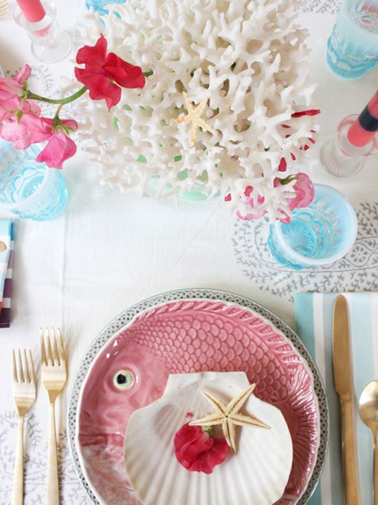 beach #wedding reception idea - gorgeous tabletop with pink, light blue and white coral with seashell plates