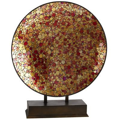 Red & Gold Mosaic Platter with Stand...NEED for above cabinet decor in ...