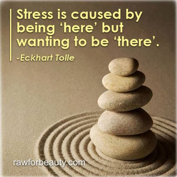 Stress is caused by being 'here' but wanting to be 'there'. – Eckhart Tolle