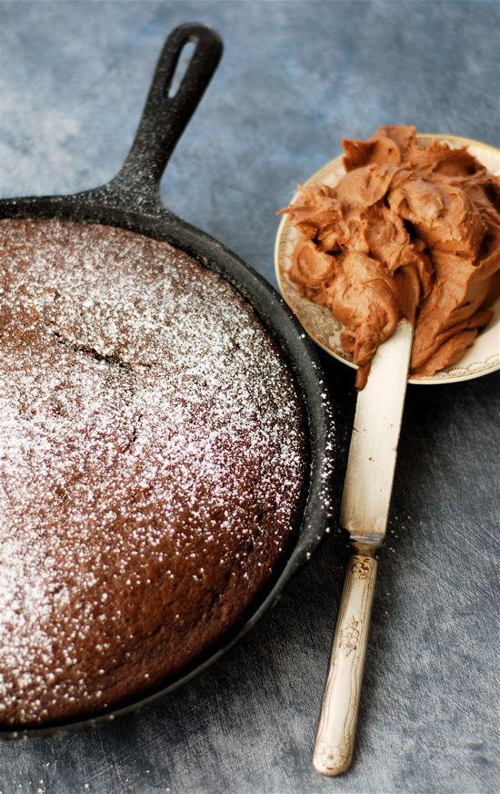 chocolate skillet cake with homemade chocolate buttercream!