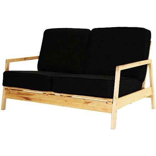 Pine Wood Frame Black Cushion Love Seat Couch Sofa Living Room Lovese