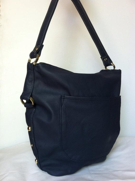 Genuine navy blue leather hobo purse shoulder bag by Fgalaze, 89.99