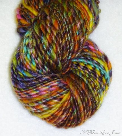 Quizzical Art Yarn - 82 yards - Handspun - Singles - Thick and Thin ...
