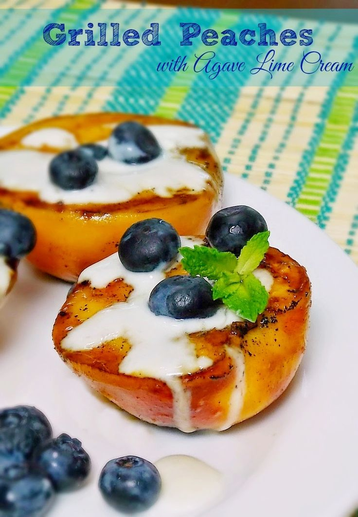 Grilled Peaches with Agave Lime Cream #grilling #peach #sugarfree ...