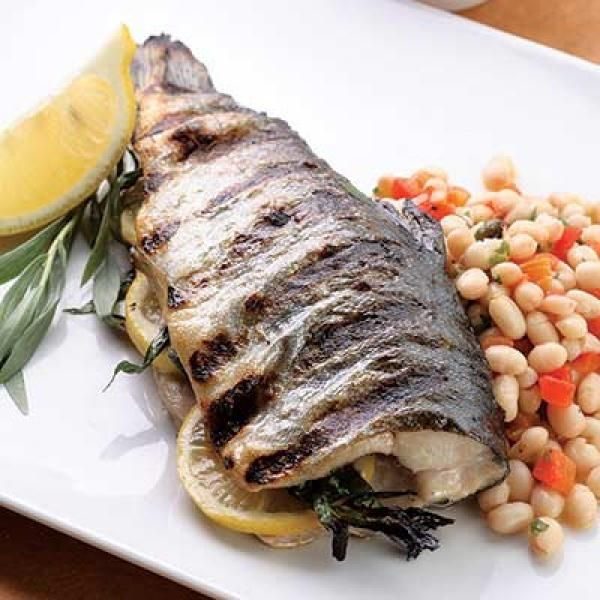 Grilled Whole Trout with Lemon-Tarragon Bean Salad | KitchenDaily.com