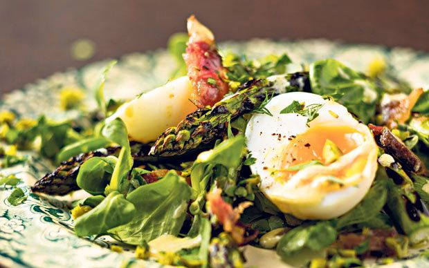 Grilled asparagus with duck eggs, bacon and mustard recipe - Telegraph