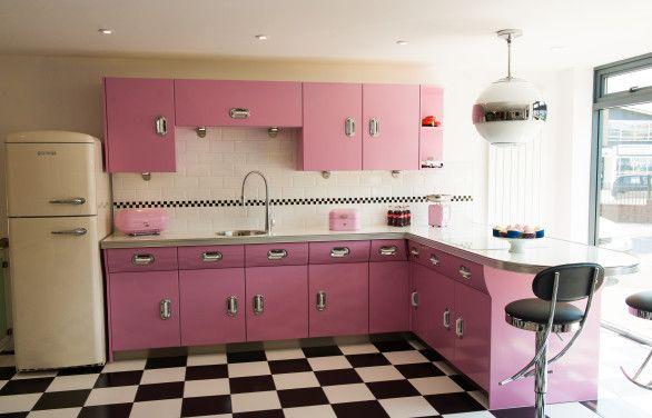 pink kitchen  Retro Kitchen Ideas  Pinterest