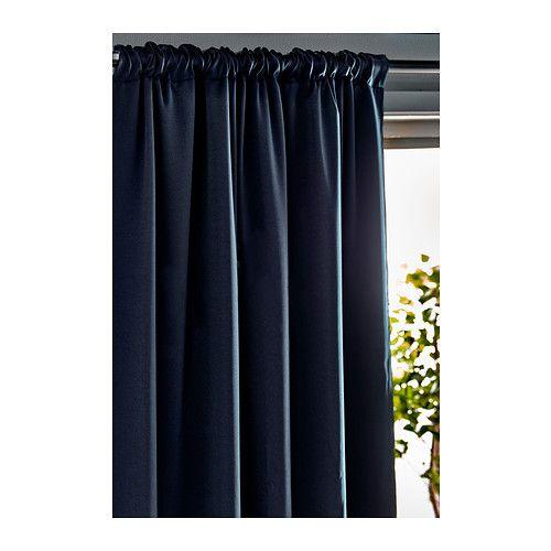 WERNA Block-out curtains, 1 pair, dark blue