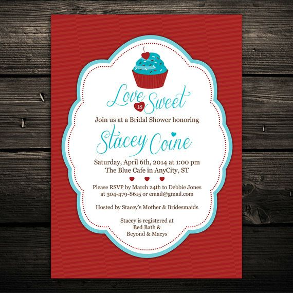 Love is Sweet Cupcake Printable Bridal or Baby Shower Invitation ...