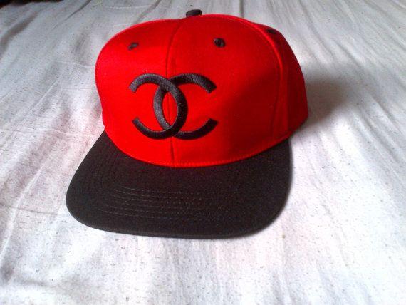 coco chanel snapback hat redblack