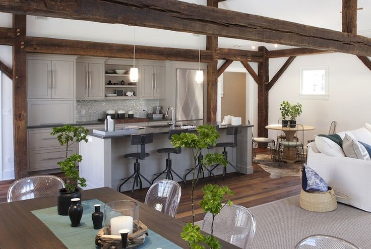 Chic Cabin Design With Rustic Exposed Wood Beams Pale Gray Cabinets