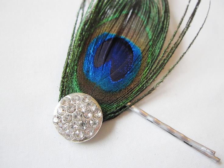 Single Peacock Feather Hair Pin - Prom, Bridesmaid, or Bride Hair ...