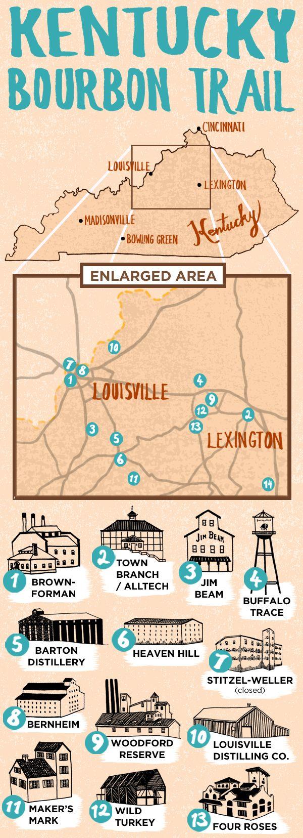 Map Of Kentucky Bourbon Trail  Drinks  Pinterest