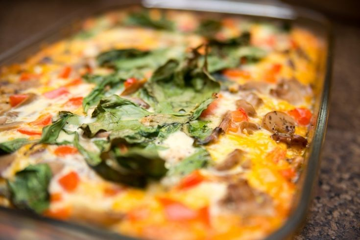 Breakfast Casserole with Eggs, Sausage, Potatoes, Fresh Spinach, Green ...