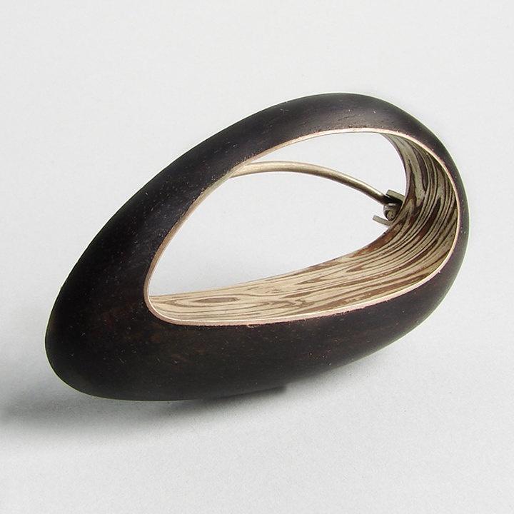 Gustavo Paradiso  OVOINCRUSTOIDEO Mokume Gane Ebony Wood Silver BROOCH
